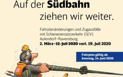 Fahrplanänderungen und Zugausfälle mit Schienenersatzverkehr Aulendorf–Ravensburg