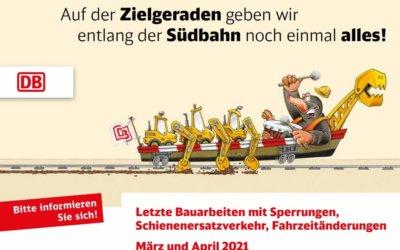 Letzte Bauarbeiten mit Sperrungen, Schienenersatzverkehr, Fahrzeitänderungen