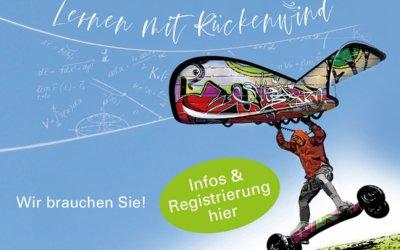 """Kinder und Jugendliche brauchen Sie – Unterstützungskräfte für das Förderprogramm """"Lernen mit Rückenwind"""" gesucht!"""